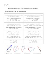 Lecture 2 on Review of vectors. The dot and cross products