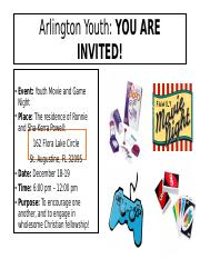 Arlington Youth Movie and Game Night