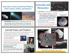 Lecture 9 - Asteroids, Comets, and Dwarf Planets Their Nature, Orbits, and Impacts