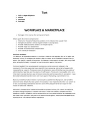 Study Notes- Tort and Marketplace Safety