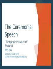 Epideictic Speech August 21
