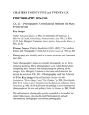 PHOTOGRAPHY 1826­-1910 Chapter 25 Study Guide