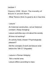 Classics 2300 Lecture Notes The morality of leisure in ancient Rome