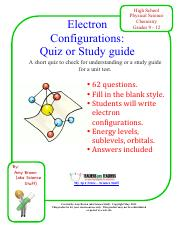 ElecConfQuiz.pdf - High School Physical Science Chemistry ...