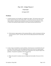 PHYS 122 final exam practice problems - more