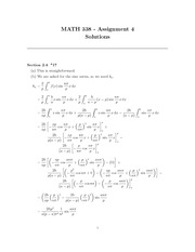 MATH 338 Assignment 4 Solutions