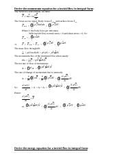 Derive the equations for a invisid flow in integral form.doc