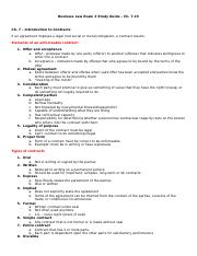 Business Law Exam 2 Study Guide - Chs 7-15
