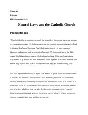 Natural Laws and the Catholic Church