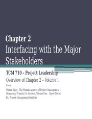TCM 710 - Chapter 2 Interfacing with the Major Stakeholders
