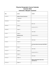 Geography Course Calendar 01