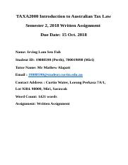 19088590 LAM IRVING SEN FUH TAXA2000 WRITTEN ASSIGNMENT.docx