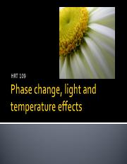 Phase, light and Temperature