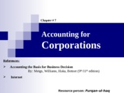 07. Accounting for Corpotations