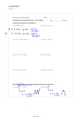 1.4 Graphing Polynomial Functions Worksheet 1