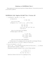 MATH1231 - Algebra Test 1