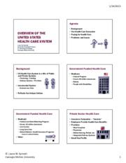 Overview of US Health Care System  S13(1)