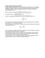 Angular Momentum of Systems of Particles