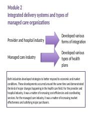 HSV 551 Module 2 Integrated delivery systems and types of managed care plans copy