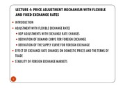 LECTURE 4 - THE PRICE ADJUSTMENT MECHANISM WITH FLEXIBLE AND FIXED EXCHANGE RATES [Compatibility Mod