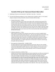 Narrative Write up for Classroom Climate Observation