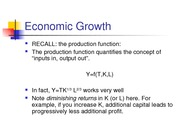 Lecture 4 Economic Growth I- The Role of Capital
