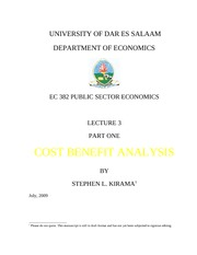 Lecture 3 Cost Benefit Analysis