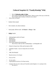 ANTH 400: Cultural Snapshot Notes