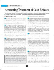 Accounting treatment of cash rebate