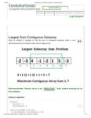 Largest Sum Contiguous Subarray - GeeksforGeeks.pdf