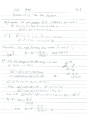 Lecture Notes on the Dot Product