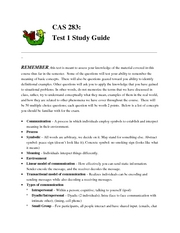 Exam 1 Review Sheet