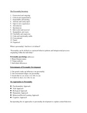 psychoanalytic and trait approaches personality assessment essay Compare and contrast any two theories of and contrast any two theories of personality personality and nomothetic approaches to the study of personality.