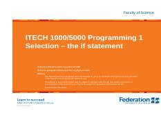 ITECH1000 selection - the if statement.pdf