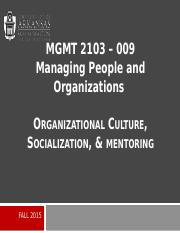 MGMT 2103_Organizational Culture, Socialization, & Mentoring_Presentation.pptx
