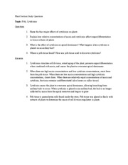 Plant Section Study Questions