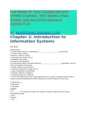 Test Bank for Information Systems for Business An Experiential Approach 1st Edition by France Craig