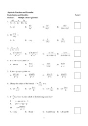 Algebraic Fractions and Formulas and Identites