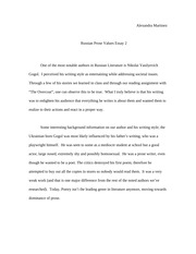 Russian Prose Essay 2 (values)