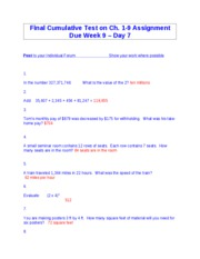 Week 9 - MAT Final Cumulative Test on Ch