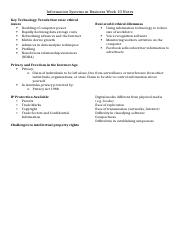 Information Systems in Business Week 10 Notes.docx