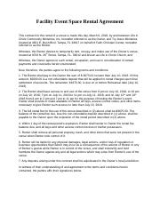 Facility Event Space Rental Agreement Template Docx Facility Event