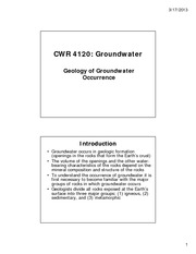 Class Notes #6 Geology of Groundwater Occurrence