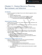 Chapter 4 - Human Resource Planning, Recruitment, and Selection