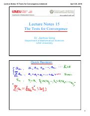 Lecture Notes 15 Tests for Convergence(2)
