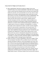 Study Guide for Religion and Society Exam 4