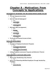 MGMT 3720 - Org Behav - Chapter 8 - Textbook - Motivation - From Concepts to Applications.doc