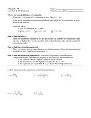 Continuity Worksheet