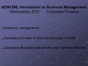 Lecture Wednesday 213 - Finance