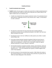 Chapter 3 notes Freefall and Vectors